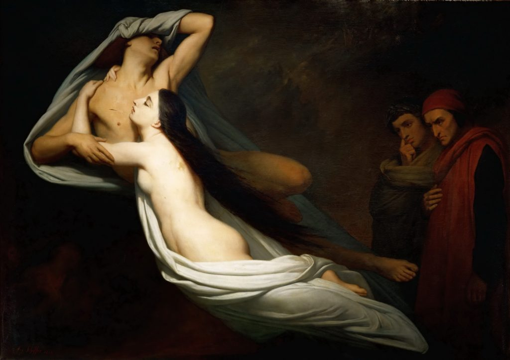 La toile originale Paolo et Francesca par le peintre Ary Scheffer.